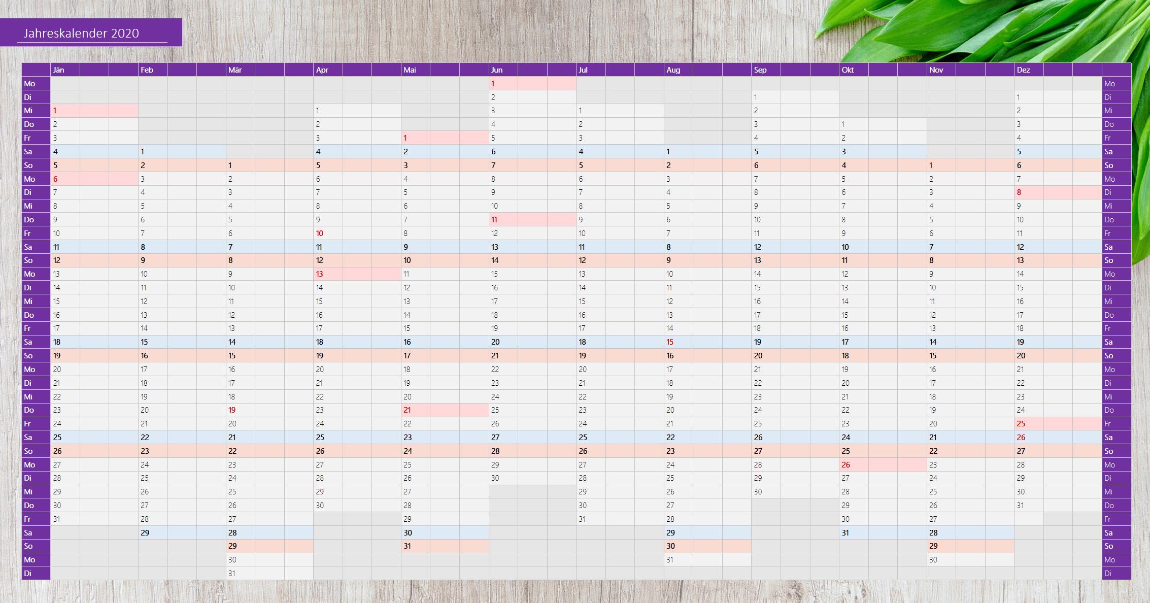 OneNote Jahreskalendar 2020